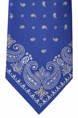 Franco Bassi Tie Royal Blue Silver Paisley - Made in Italy