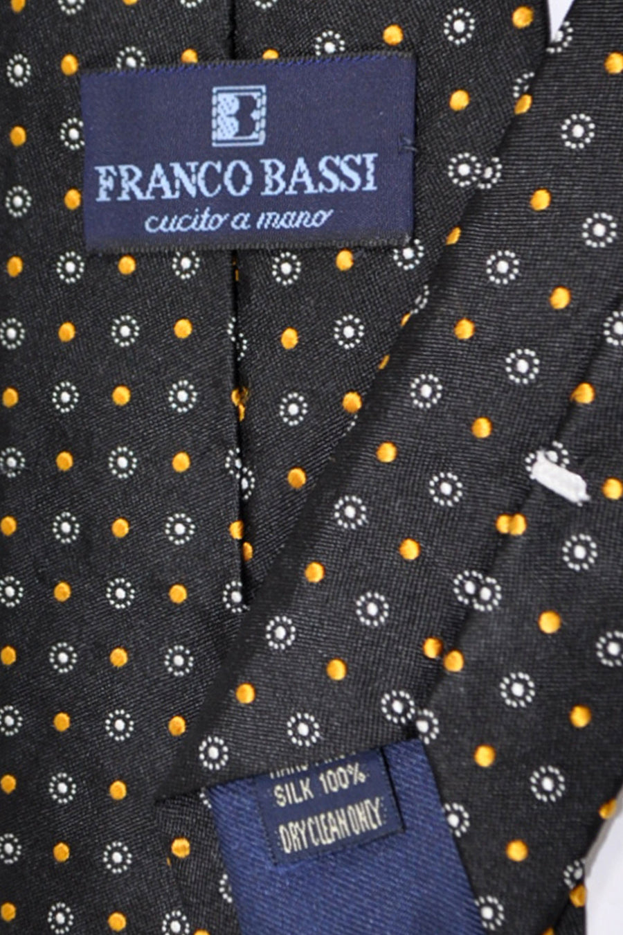 Franco Bassi Tie Black Gold Geometric - Made in Italy