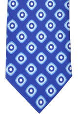 Franco Bassi Tie Blue Sky Blue White Geometric - Made in Italy
