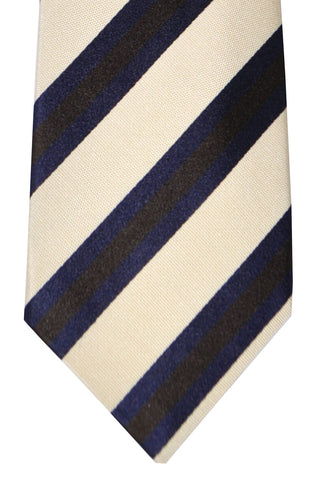 Franco Bassi Tie Dark Lapis Chocolate Ivory Stripes - Made in Italy