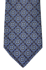 Franco Bassi Tie Navy Metallic Gray Brown Geometric - Made in Italy