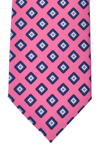 Franco Bassi Tie Pink Navy Geometric - Made in Italy