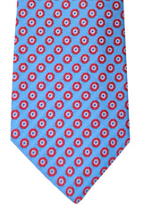 Franco Bassi Tie Sky Blue Red Geometric