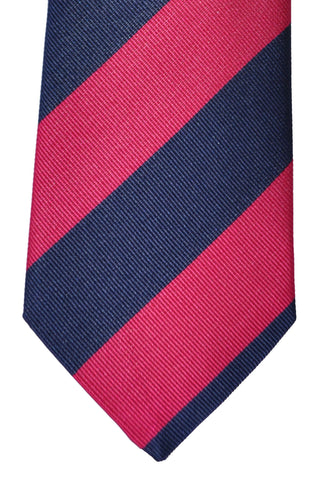 Franco Bassi Tie Navy Fuchsia Stripes - Made in Italy