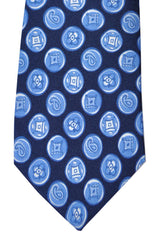 Franco Bassi Tie Navy Blue Geometric