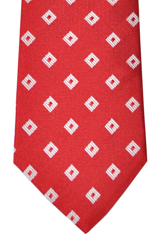 Franco Bassi Tie Red Silver Geometric - Made in Italy