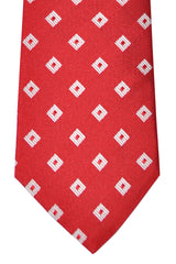 Franco Bassi Tie Red Silver Geometric