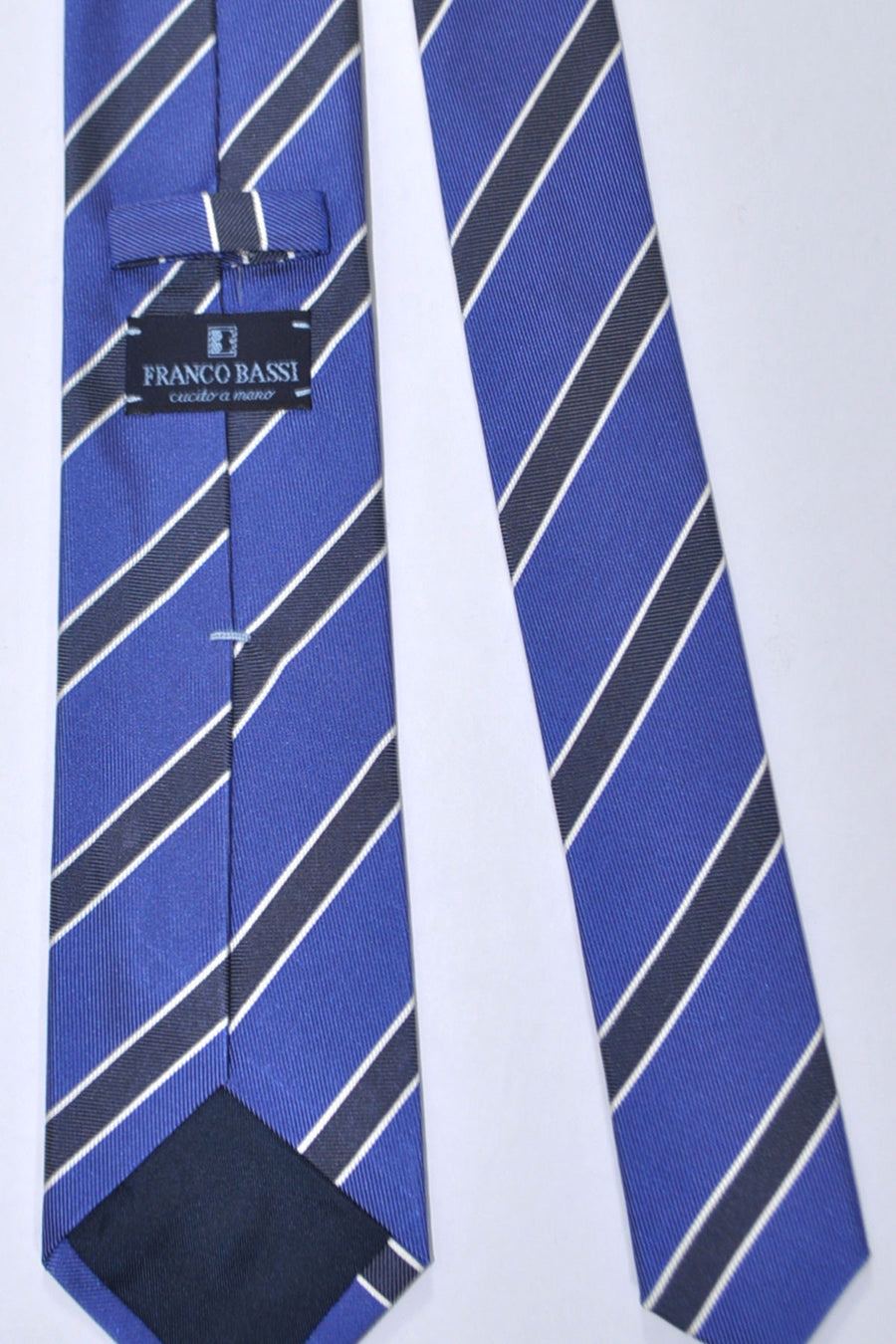 Franco Bassi Silk Tie Royal Blue Black Silver Stripes - Made in Italy