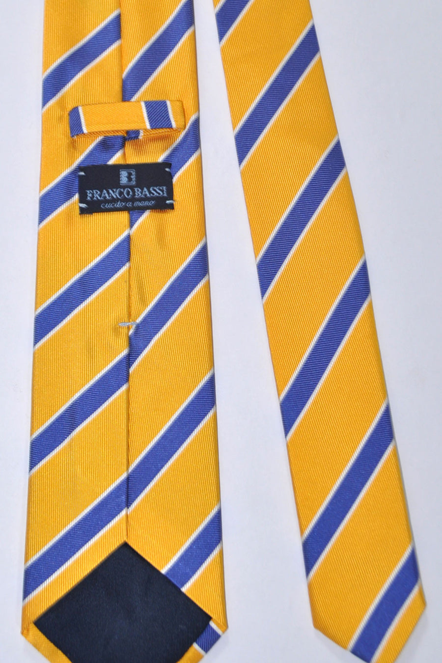 Franco Bassi Silk Tie Yellow Royal Blue Silver Stripes - Made in Italy