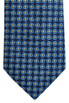 Franco Bassi Cotton Tie Dark Navy Aqua Geometric - Made in Italy