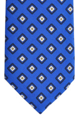 Franco Bassi Cotton Tie Royal Navy White Geometric - Made in Italy