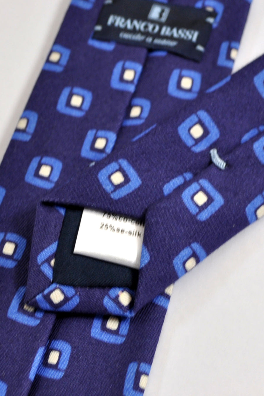 Franco Bassi Tie Navy Blue Geometric - Narrow Necktie