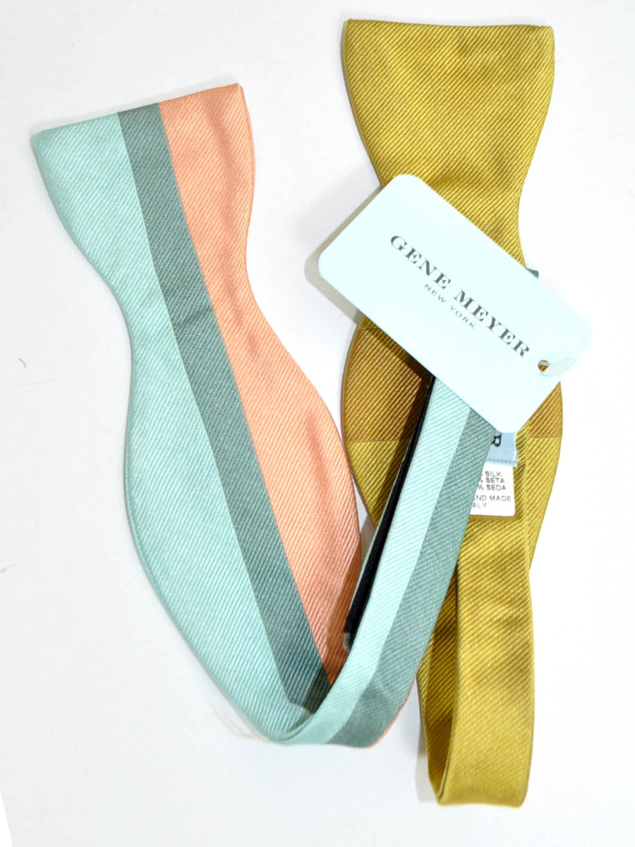 Gene Meyer Silk Bow Tie Sky Blue Pink Stripe & Olive SALE