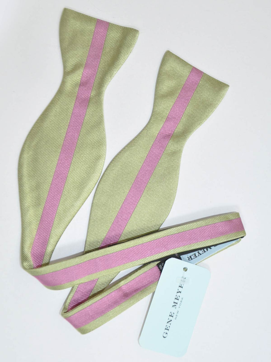 Gene Meyer Silk Bow Tie Gray Pink Stripe SALE
