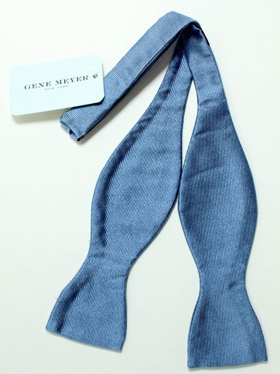 Gene Meyer Silk Bow Tie Solid Metal Blue