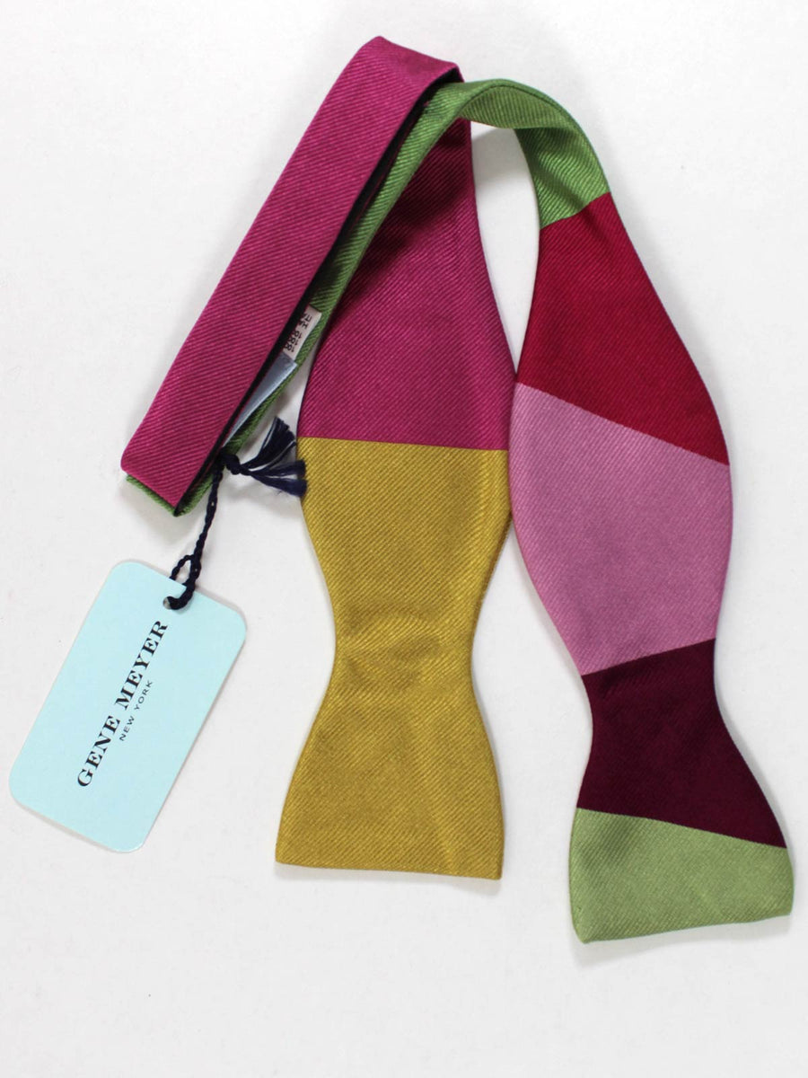 Gene Meyer Silk Bow Tie Olive Pink Green Design