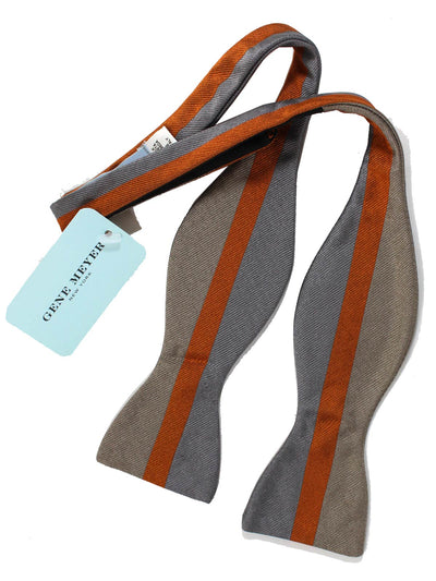 Gene Meyer Bow Tie Gray Rust Orange Stripe