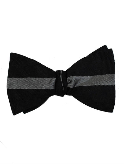 Gene Meyer Bow Tie Black Gray Stripe - Hand Made In Italy
