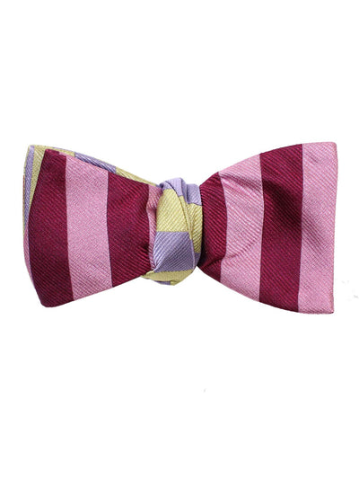 Gene Meyer Silk Bow Tie Purple Pink Stripes
