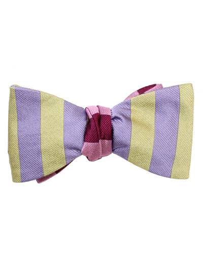 Gene Meyer Silk Bow Tie Purple Pink Stripes - Self Tie Bow Tie SALE