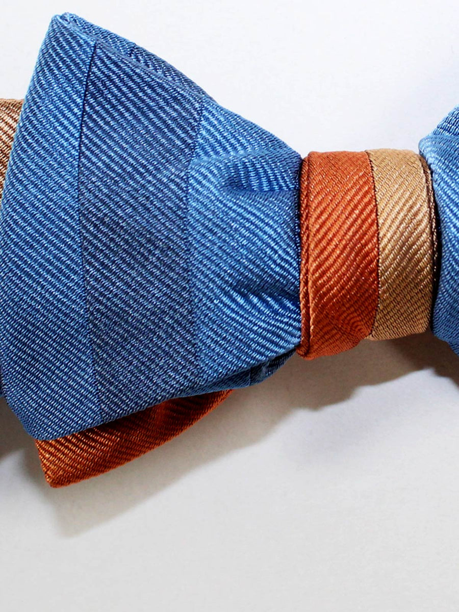 Gene Meyer Silk Bow Tie Blue Orange Stripes