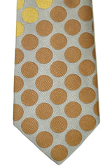 Gene Meyer Tie Gray Brown Mustard Polka Dots