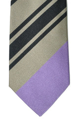 Gene Meyer Tie Cream Brown Lilac Stripe