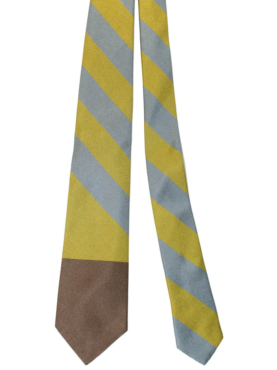Gene Meyer Tie Taupe Olive Gray Stripes
