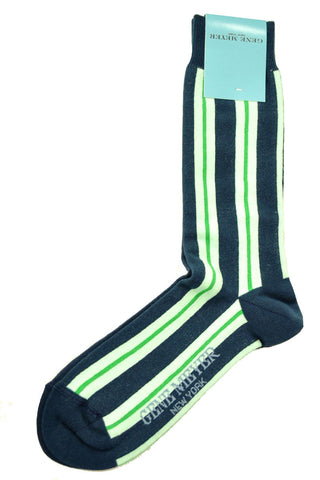 Gene Meyer Socks Navy Green Stripes SALE