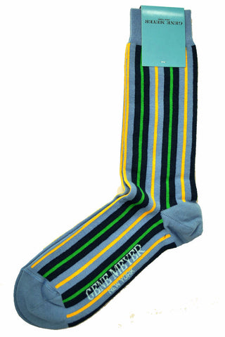 Gene Meyer Socks Navy Yellow Green Stripes - SALE