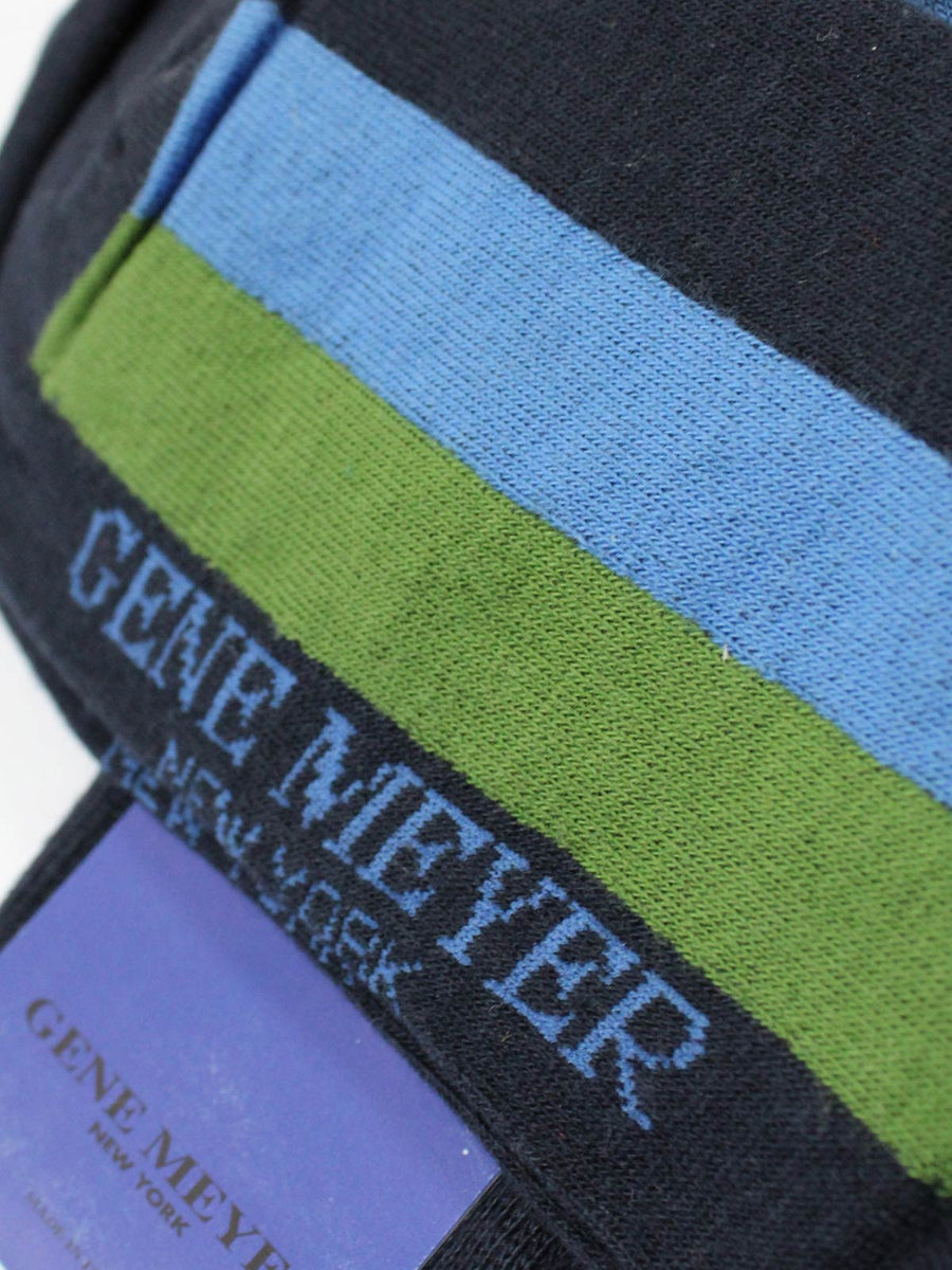 Gene Meyer Men Socks Navy Blue Green Stripe
