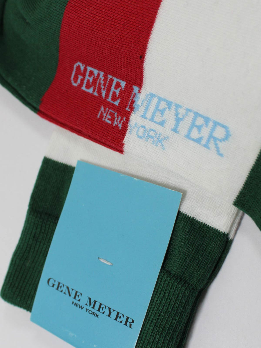 Gene Meyer Socks Red Green White Stripes