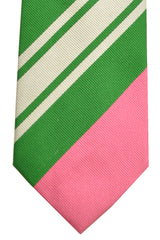 Gene Meyer Silk Tie Pink Green - Trigger Happy