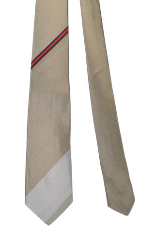 Gene Meyer Tie Taupe Silver Red Stripes