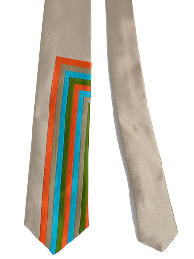 Gene Meyer Tie Gray Blue Green Orange Geometric