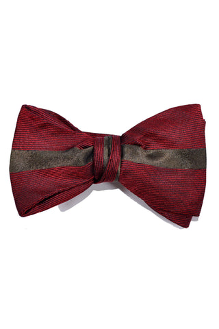 Gene Meyer Bow Tie Burgundy Taupe-Brown Stripe
