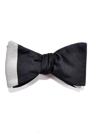 Gene Meyer Bow Tie Black Gray Stripe - Self Tie