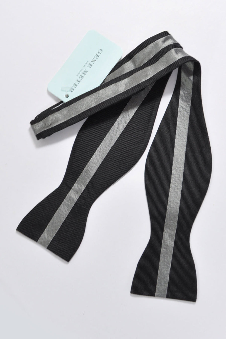 Gene Meyer Bow Tie Black Gray Stripe