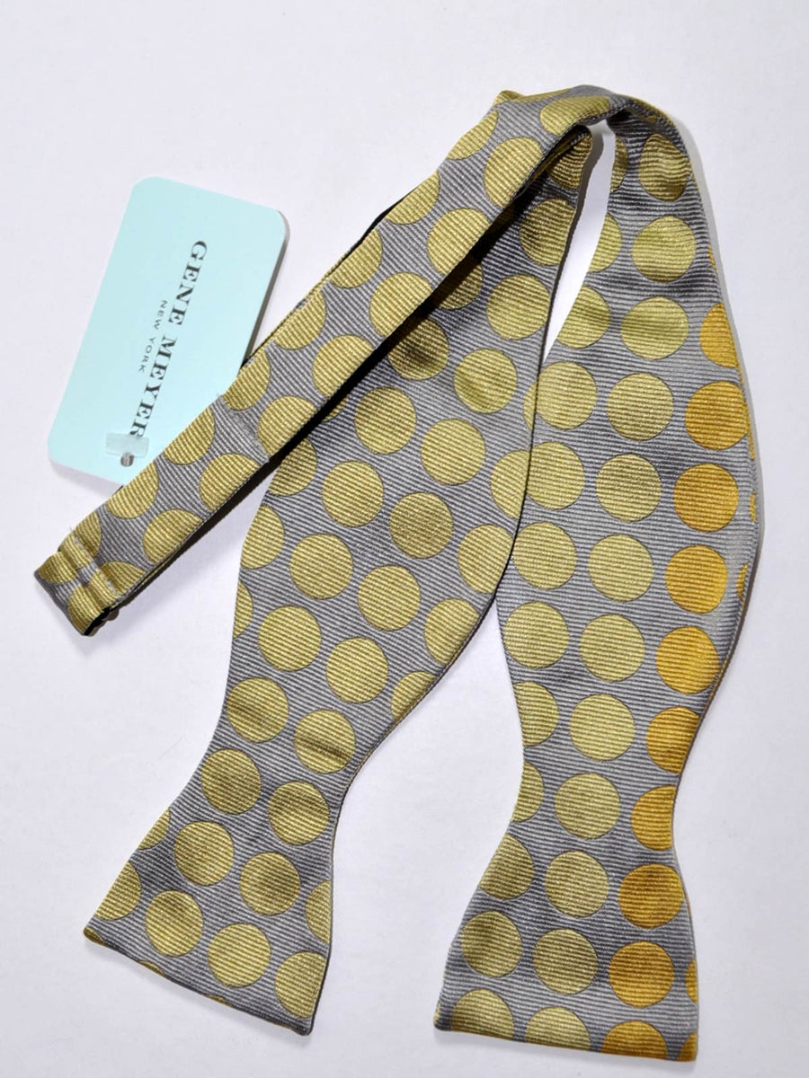Gene Meyer Bow Tie Gray Chartreuse Polka Dots
