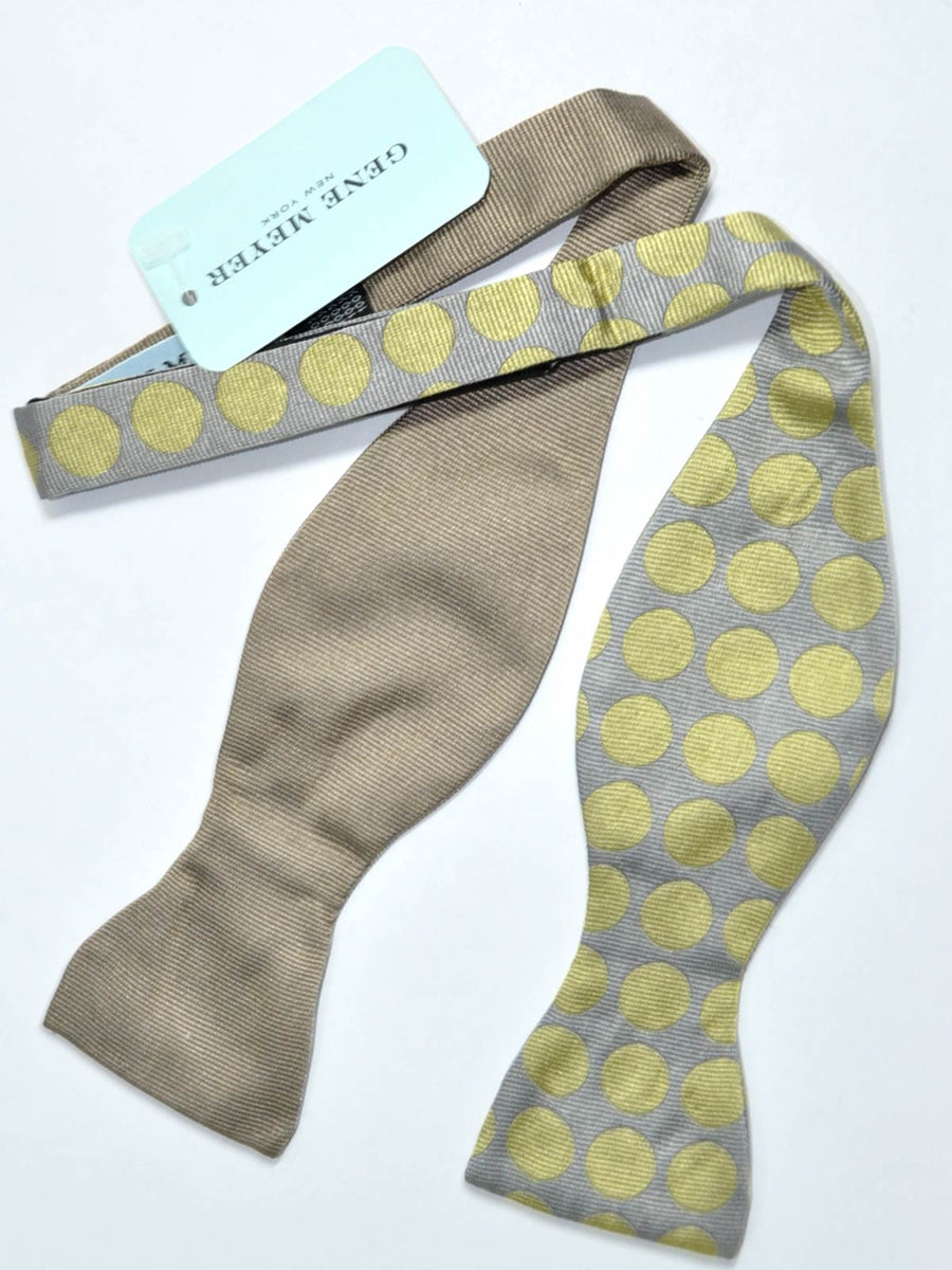 Gene Meyer Silk Bow Tie Gray Taupe Polka Dots New