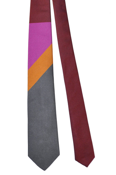 Gene Meyer Silk Tie Gray Orange Maroon SALE