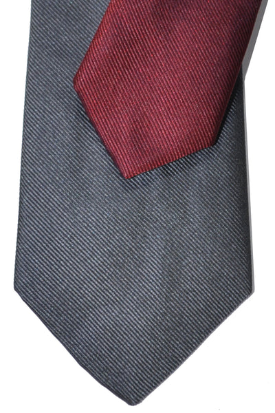 Gene Meyer Silk Tie Gray Orange Maroon Fuchsia Stripe