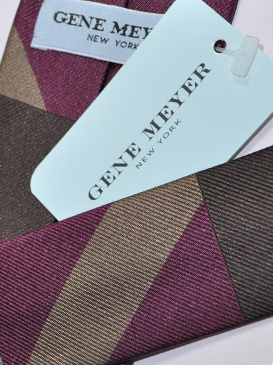 Gene Meyer Tie Gray Purple Brown Hand Made In Italy