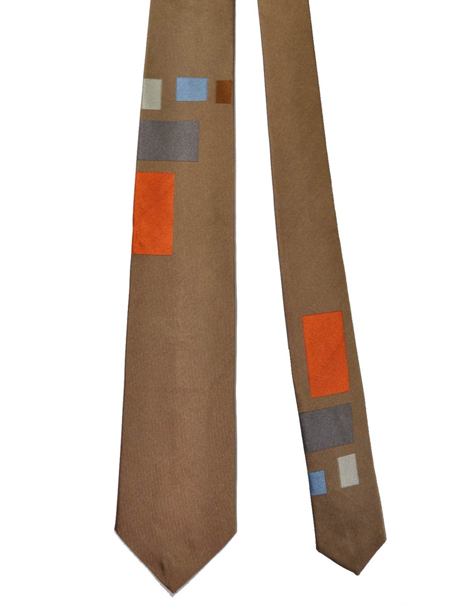 Gene Meyer Tie Taupe Geometric Rectangles Design Necktie