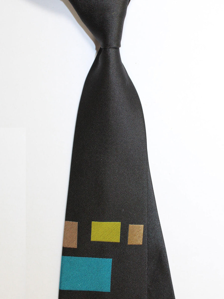 Gene Meyer Necktie Black Geometric - Hand Made In Italy
