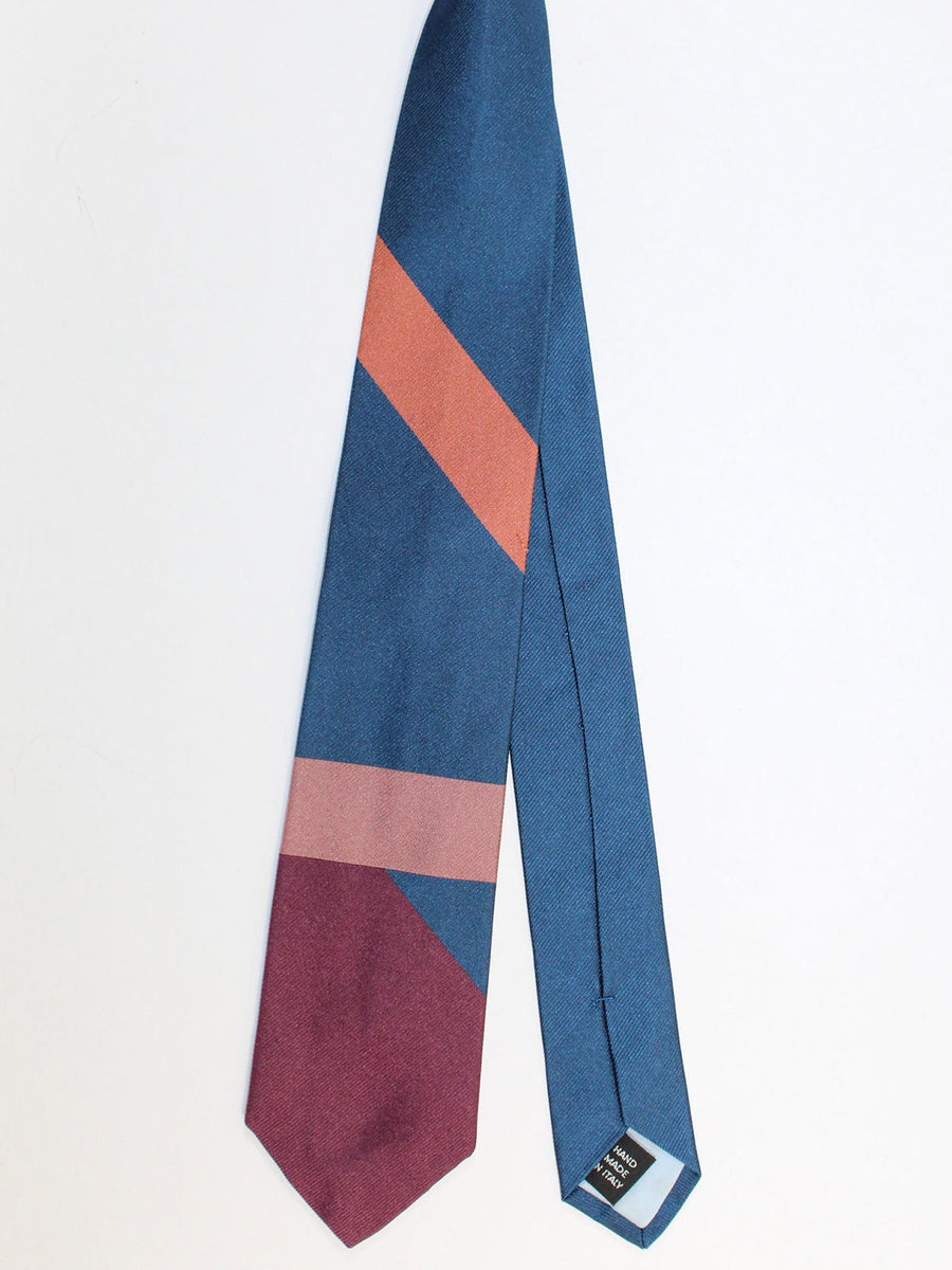 Gene Meyer Necktie Blue Purple Stripes - Hand Made In Italy