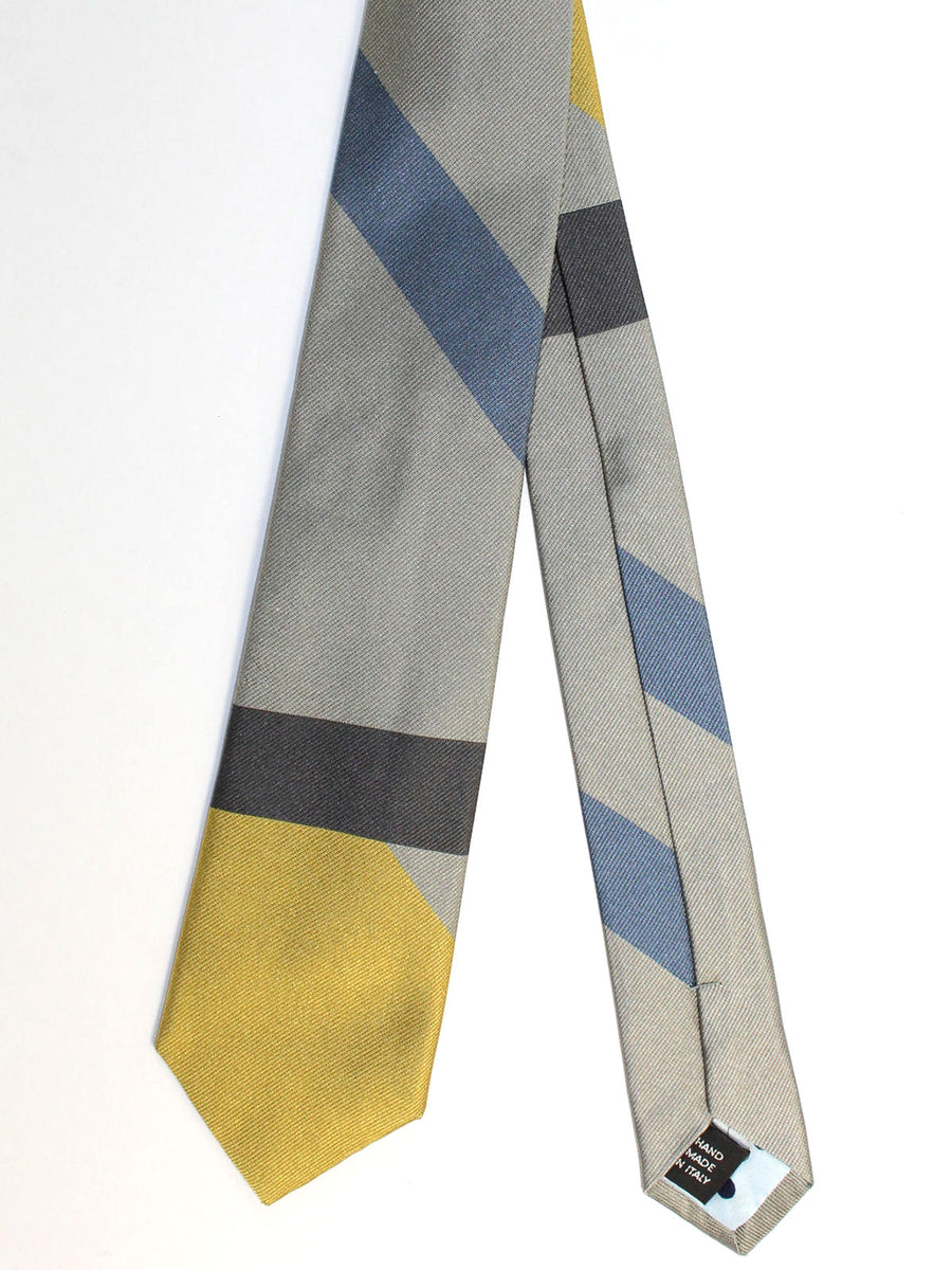 Gene Meyer Necktie Gray Mustard Blue Stripes Design - Hand Made In Italy
