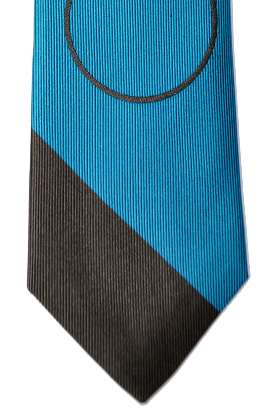 Gene Meyer Tie Brown Gray Aqua Circle Design