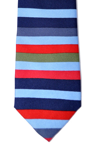 Gene Meyer Tie Sky Blue Red Navy Stripes