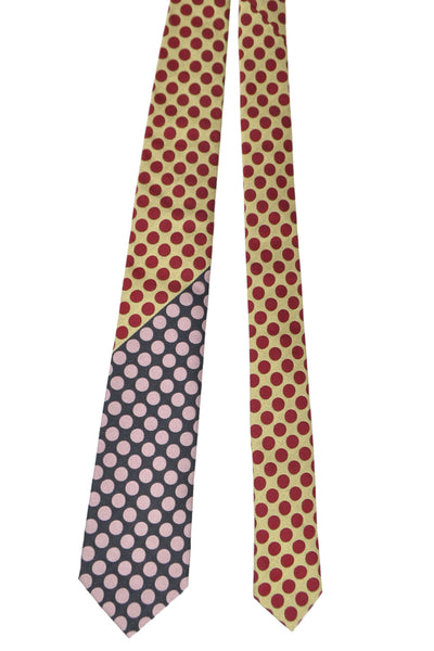 Gene Meyer Silk Tie Chocolate Pink Polka Dots